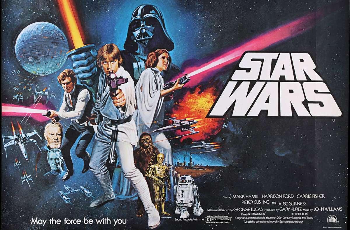 """Das Plakat für den ersten """"Star Wars""""-Film von 1977 sagt schon, was für jede Drehbuchautorensuche gilt: """"May the force be with you"""". Foto: imago/Cover-Images/Prop Store"""