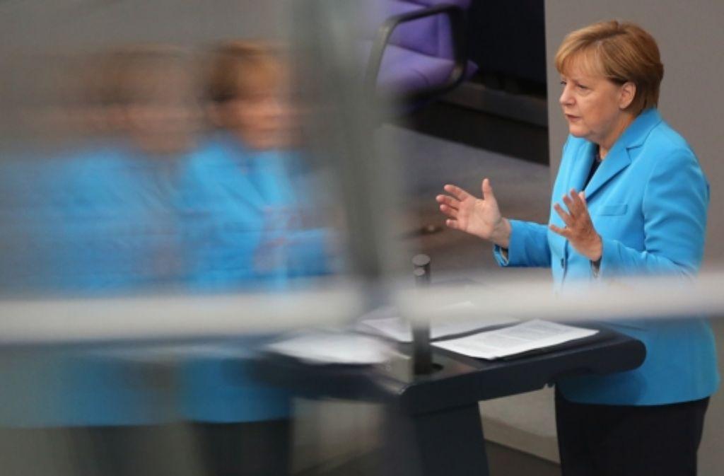 In ihrer Rede im Bundestag lobt Merkel den Zustand der Staatsfinanzen. Das mache die Regierung jetzt in der Flüchtlingsfrage handlungsfähig. Foto: Getty Images Europe