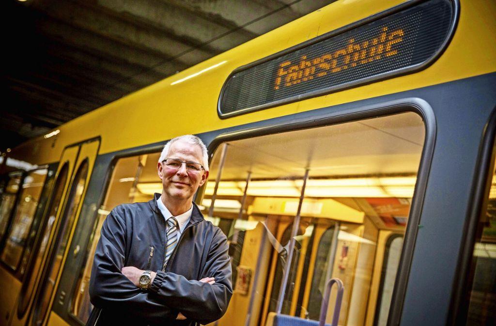 Thomas Dietz im SSB-Ausbildungszentrum in Möhringen. Foto: Lichtgut/Leif Piechowski