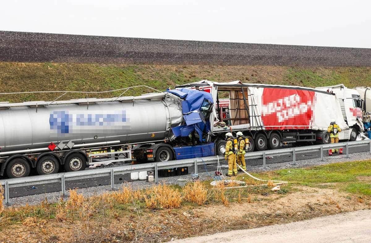 Der Unfall ereignete sich auf der A6 bei Bad Rappenau. Foto: 7aktuell.de/Kevin Lermer