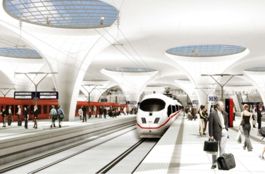 Wenn der Tiefbahnhof  (hier eine Visualisierung) erst einmal gebaut sein wird,  ist es für Wehklagen  über Tokioter Verhältnisse in Stuttgart zu spät, kommentiert Jörg Nauke. Foto: