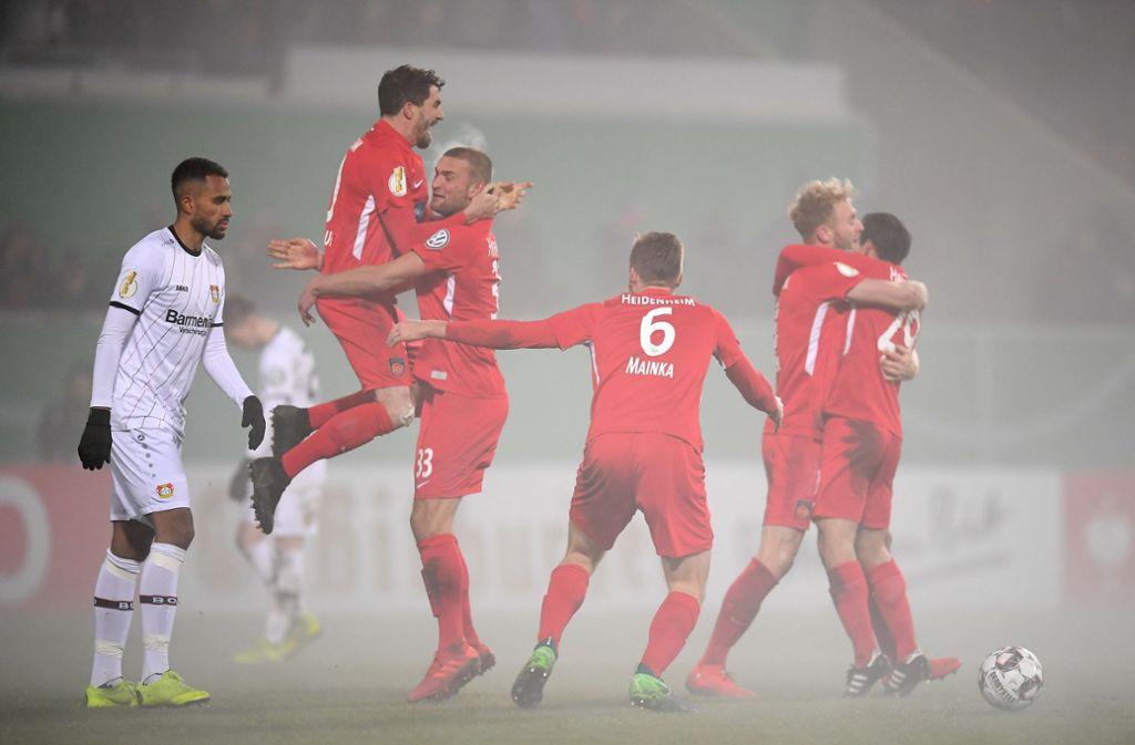 Im Achtelfinale bezwangen die Heidenheimer Bayer Leverkusen. Nun müssen sie nach München. Foto: Bongarts