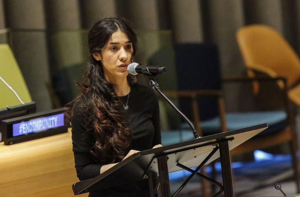 Nadia Murad spricht vor den UN in New York. Foto: AFP