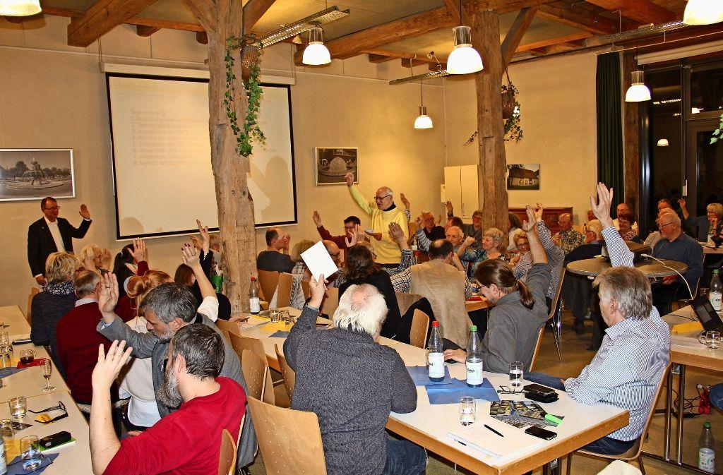 Die rund 80 anwesenden Mitglieder des Bürgervereins waren sich bei den Abstimmungen am Freitagabend   weitestgehend einig. Foto: Torsten Ströbele