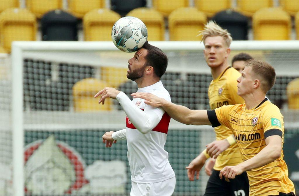 Gonzalo Castro vom VfB Stuttgart in Aktion bei Dynamo Dresden. Unsere Redaktion bewertet die Leistungen der VfB-Akteure wie folgt. Foto: Pressefoto Baumann