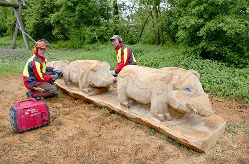 Hölzerne Wildschweine im Kräherwald