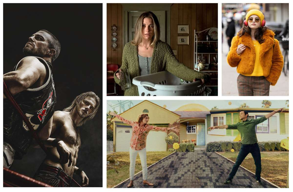 """Wie wäre es zum Beispiel mit """"Heels"""", """"Kevin can f**k himself"""", """"Only Murders in the Building"""" oder """"Mr. Corman"""" (von links im Uhrzeigersinn)? Foto: Starzplay, Amazon, Disney+, Apple TV+"""