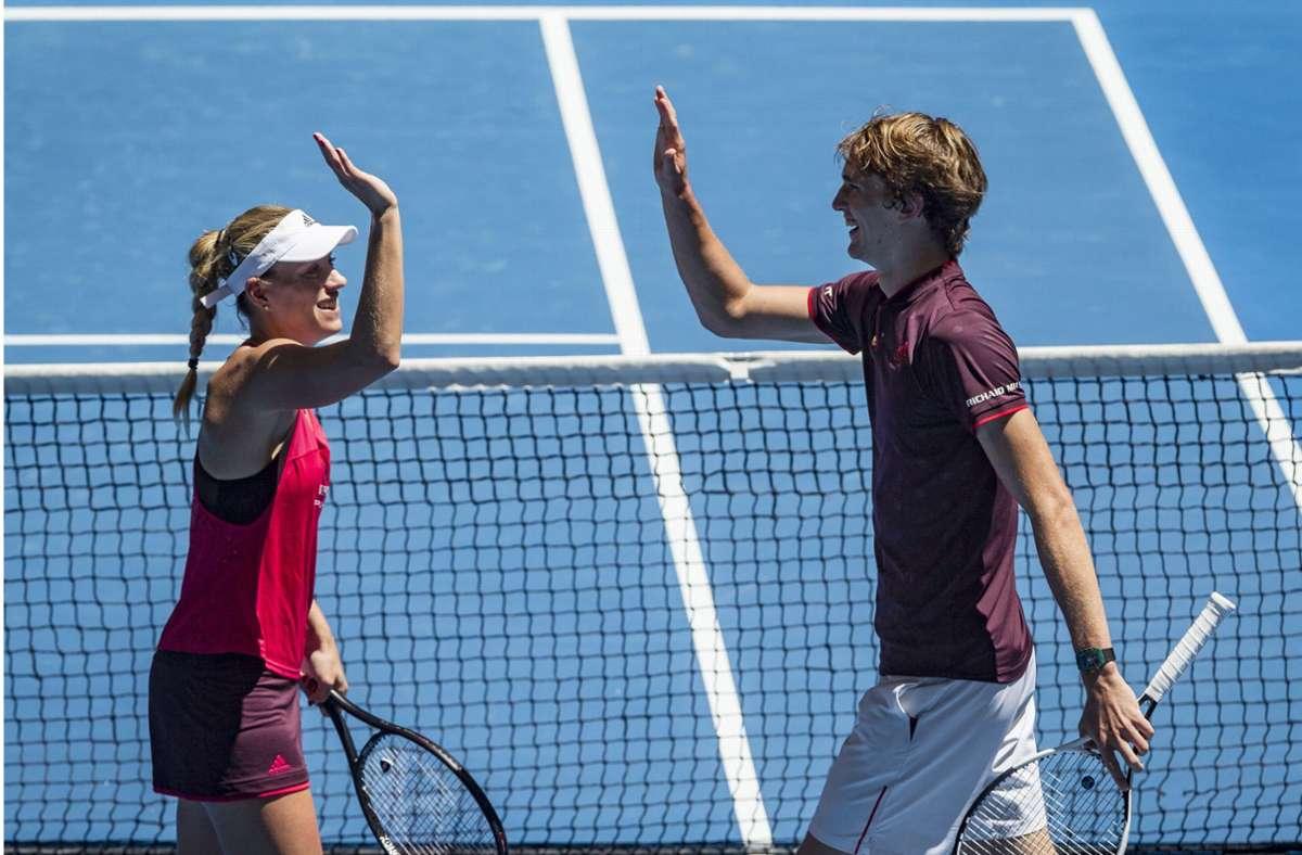 Deutschlands Tennisasse Angelique Kerber und Alexander Zverev haben eine unterschiedliche Sichtweise auf die US Open unter Corona-Bedingungen. Foto: dpa/Tony Mcdonough