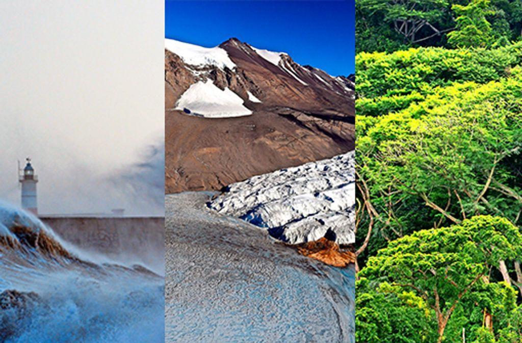 Meere, Gletscher und Wälder: überall hinterlässt der Mensch seine Spuren. Fotos:AFP (2), dpa Foto: