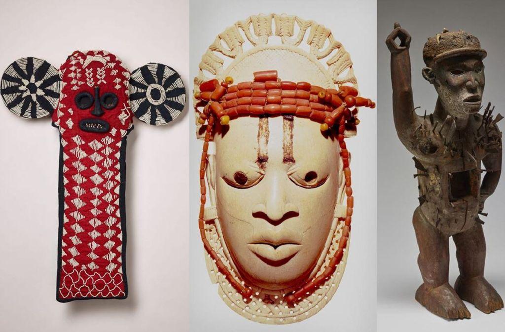 Die Elefantenmaske aus Nordwestkamerun gelangte 1903 an die Sammlung (li.). Die Hüftmaske aus Nigeria wurde von britischen Soldaten entwendet (Mitte). Machtfigur aus dem Kongobecken (re.). Foto: Dominik Drasdow, Anatol Dreyer, Lindenmuseum Stuttgart
