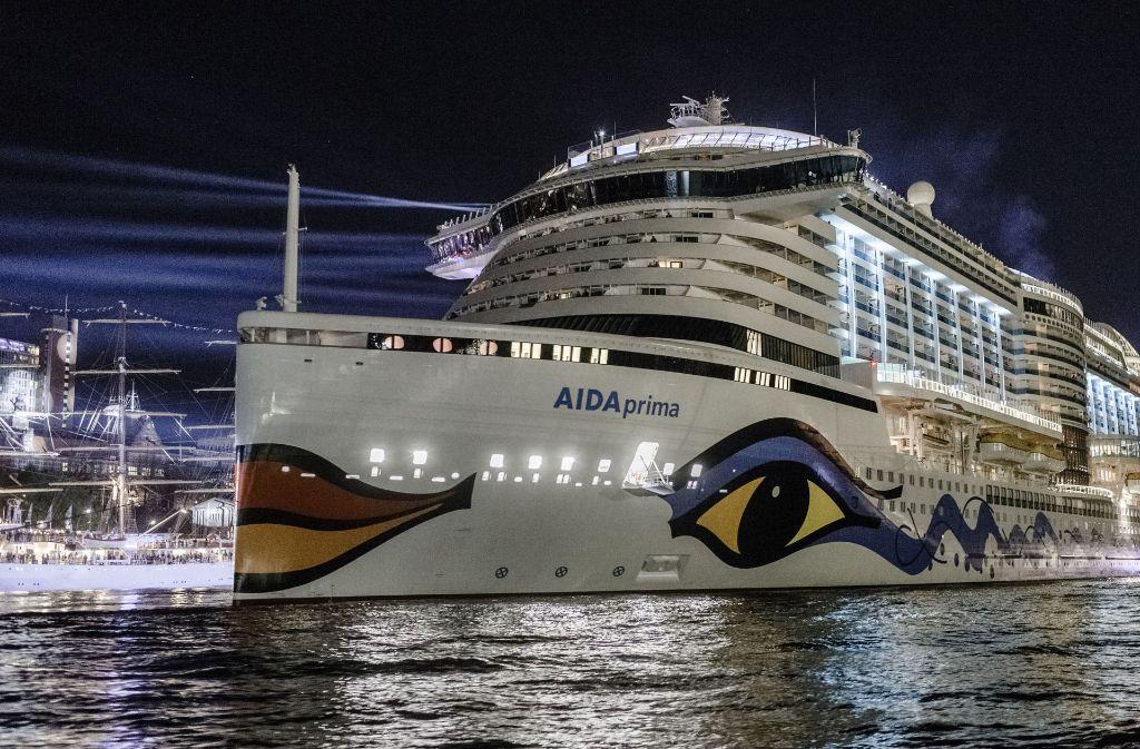 """Das Kreuzfahrtschiff Aida-""""Prima"""" wurde beim Unwetter in der Nacht zum Samstag durchgeschüttelt (Archivbild). Foto: dpa"""