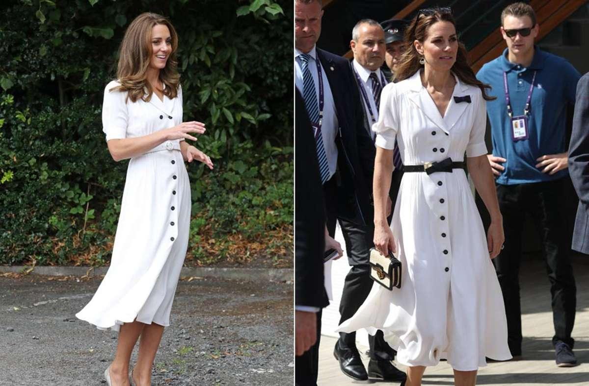 Ein Kleid, zwei Anlässe: Herzogin Kate trug dieses Hemdblusenkleid schon in Wimbledon (rechts) und jetzt bei einem Termin in Sheffield. Foto: Imago/Pool/Stephen Lock