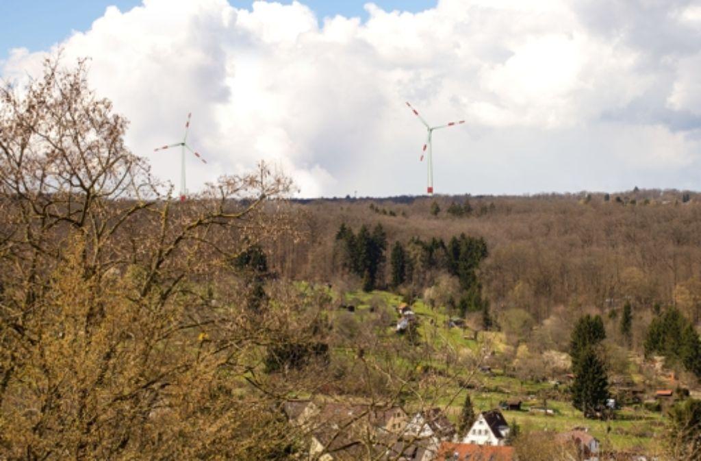 So würden die zwei geplanten Windräder im Tauschwald laut einer Visualisierung der Stadtwerke Stuttgart aussehen. Foto: Stadtwerke