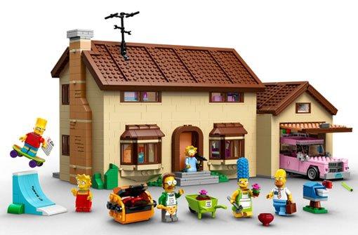 Bart, Homer und Marge als Legofiguren