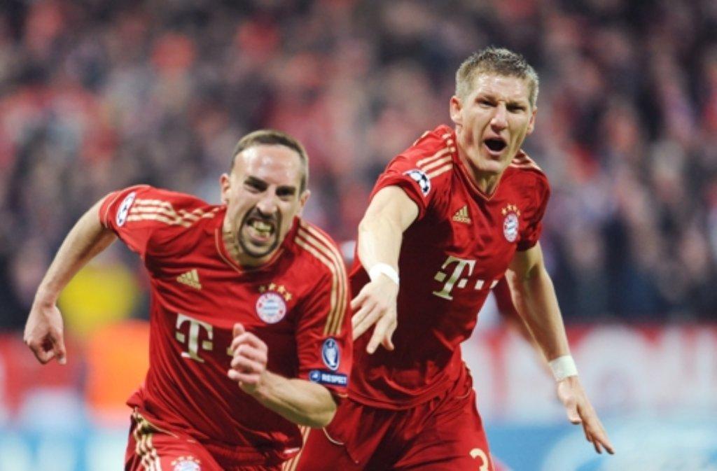 Der FC Bayern (mit Ribéry, links, und Schweinsteiger) ist die bedeutendste Marke. Foto: dpa