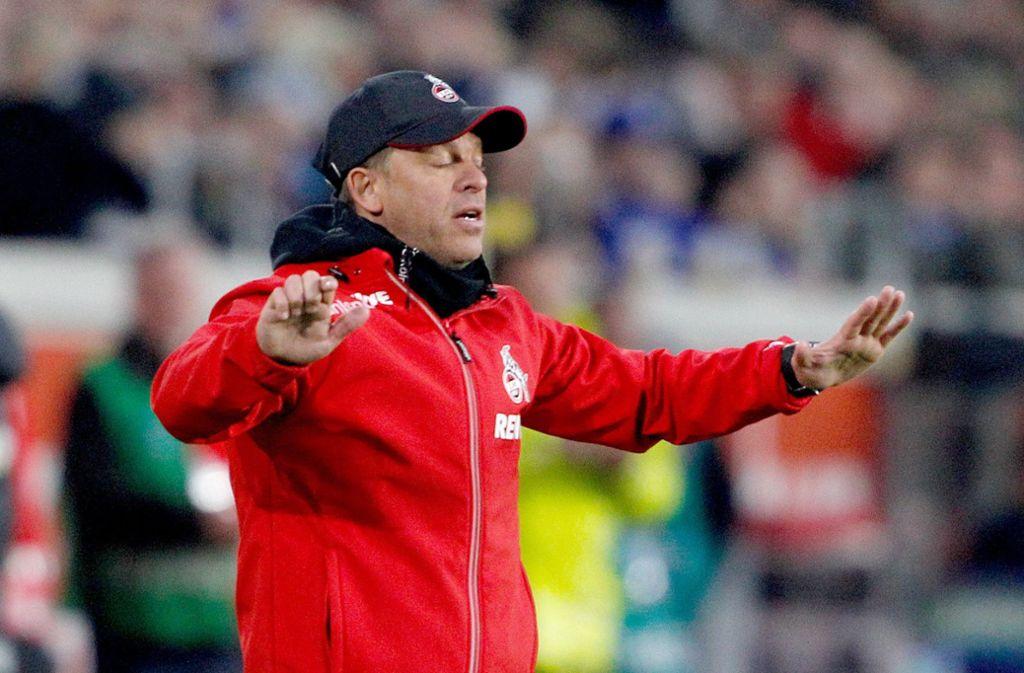 Der Kölner Trainer Markus Anfang während der Partie gegen Duisburg Foto: dpa