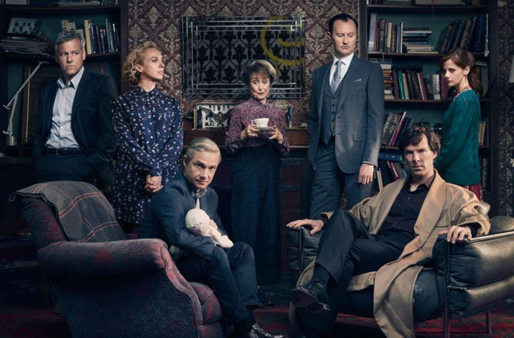 Gruppenbild mit Genie: die wichtigsten Figuren der TV-Serie Sherlock Holmes vereint. Foto: BBC