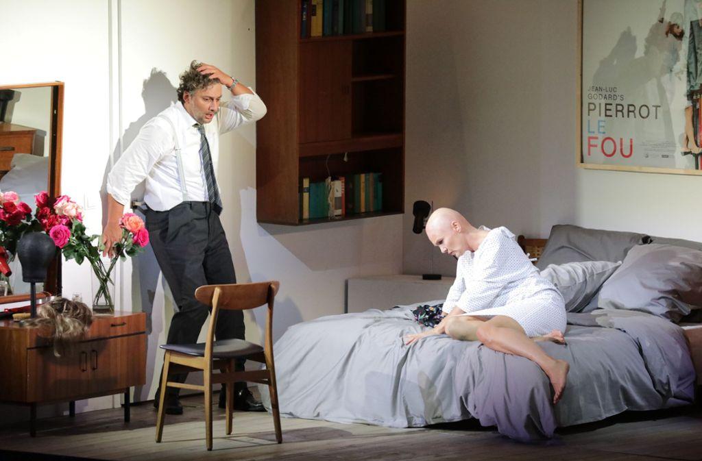 Jonas Kaufmann als Paul und Marlis Petersen, hier als Marie, in einer Doppelrolle. Foto: Patricia Sigerist