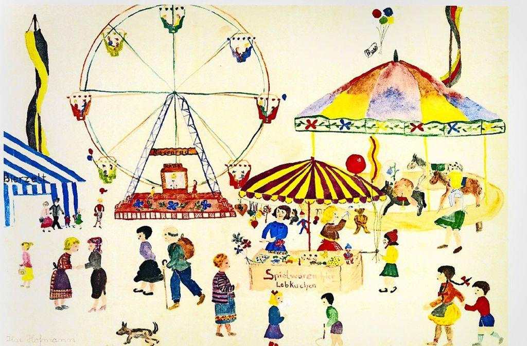 Ilse Sibylle Eichner hat dieses Bild vom Volksfest anno 1954/55 gemalt. Foto: Eichner
