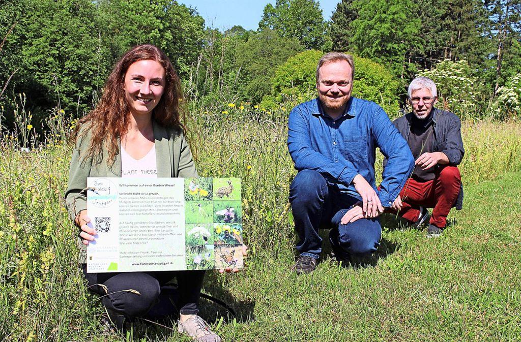 Die Studentin Marina Moser, Professor Lars Krogmann und Helmut Dalitz, der Leiter der Hohenheimer Gärten, werben für insektenfreundliche Wiesen. Foto: Caroline Holowiecki
