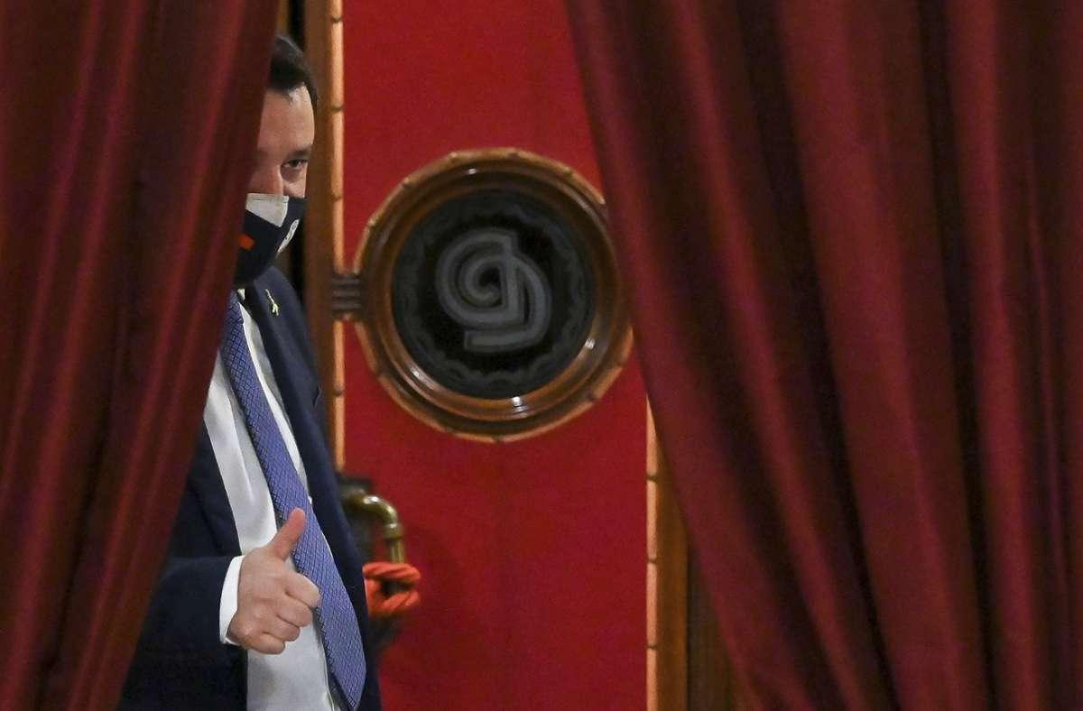 Matteo Salvini, leader della Lega di estrema destra, vede un'opportunità per tornare all'epoca del governo.  Foto: dpa / Alessandro Di Meo