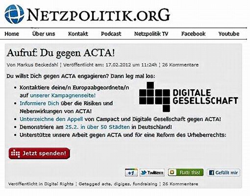 Im Acta-Abkommen geht es auch um die Kontrolle von Netzusern Foto: dpaRepro: StZ