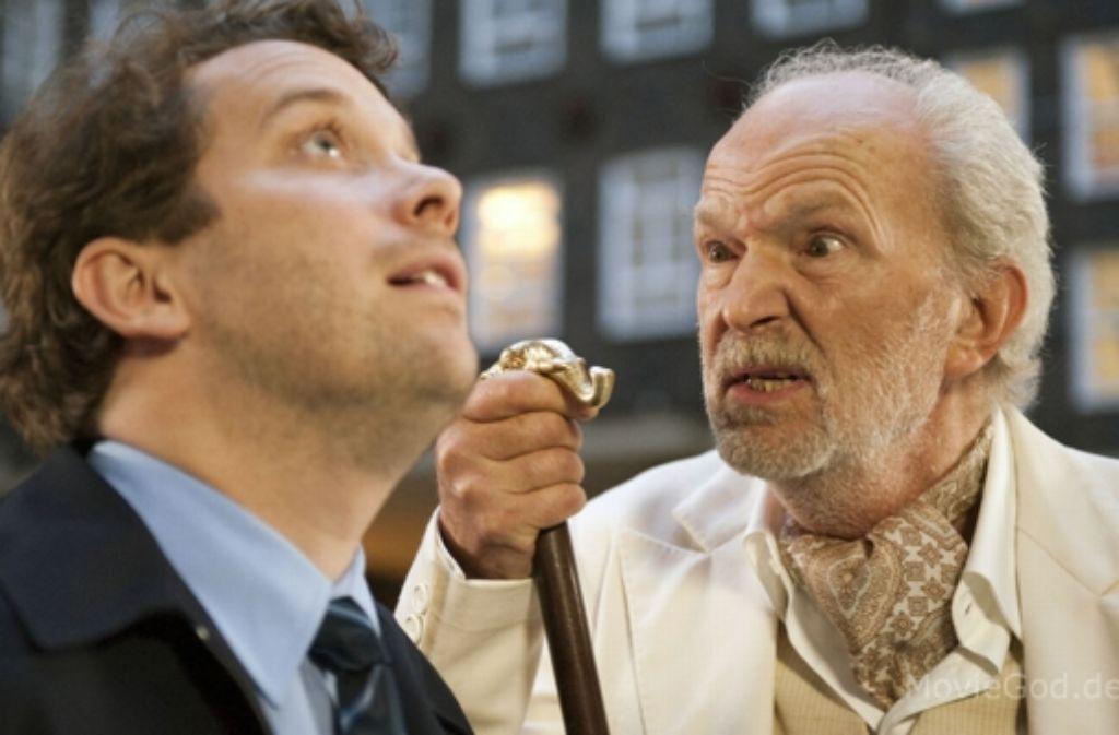 """Auch ein alter Gauner: in der Komödie """"Vater Morgana"""" spielt Michael Gwisdek (r.) einen Schurken, den seinen Sohn (Christian Ulmen) nicht im Zaum halten kann. Foto: Verleih"""