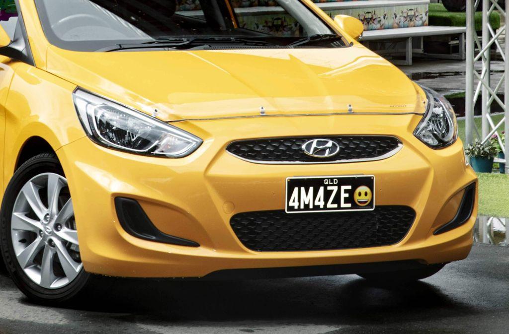 Das lachende Gesicht gibt es im Bundesstaat Queensland künftig auch auf der Stoßstange. Foto: Personalised Plates Queensland