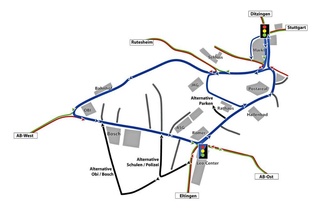 Der Einbahnstraßenring (blau), den die SALZ-Liste vorschlägt Foto: Frank Albrecht