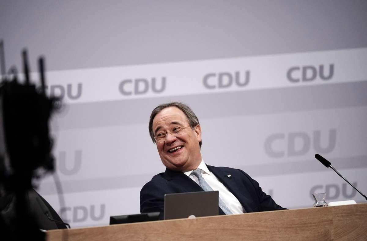 Hat gut lachen: der neue CDU-Parteichef Armin Laschet. Foto: dpa/Michael Kappeler