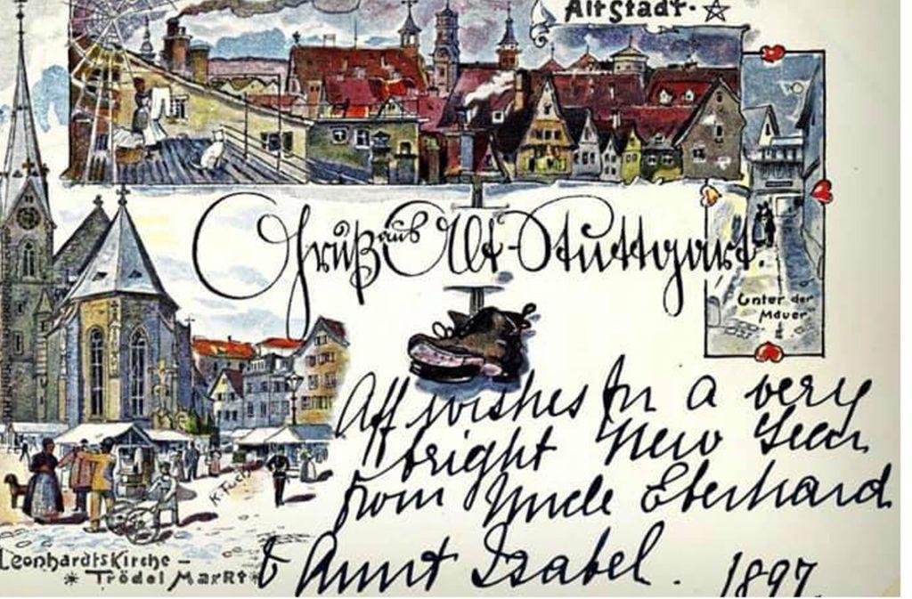 """Schon vor über 100 Jahren war das Leonhardsviertel die """"Altstadt"""". Die Karte mit Zeichnungen von Karl Fuchs ist 1897 beschrieben worden Foto: Sammlung Wolfgang Müller"""