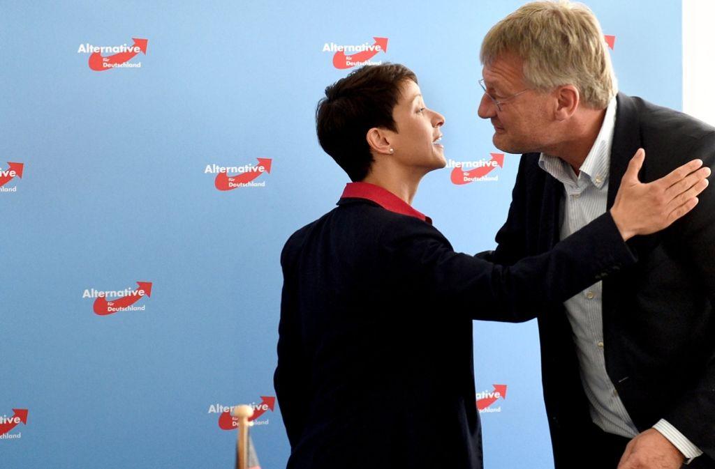 So begrüßen sich Parteifreunde, die eigentlich nichts miteinander zu tun haben möchten. Die beiden AfD-Vorsitzenden Frauke Petry und Jörg Meuthen. Foto: dpa