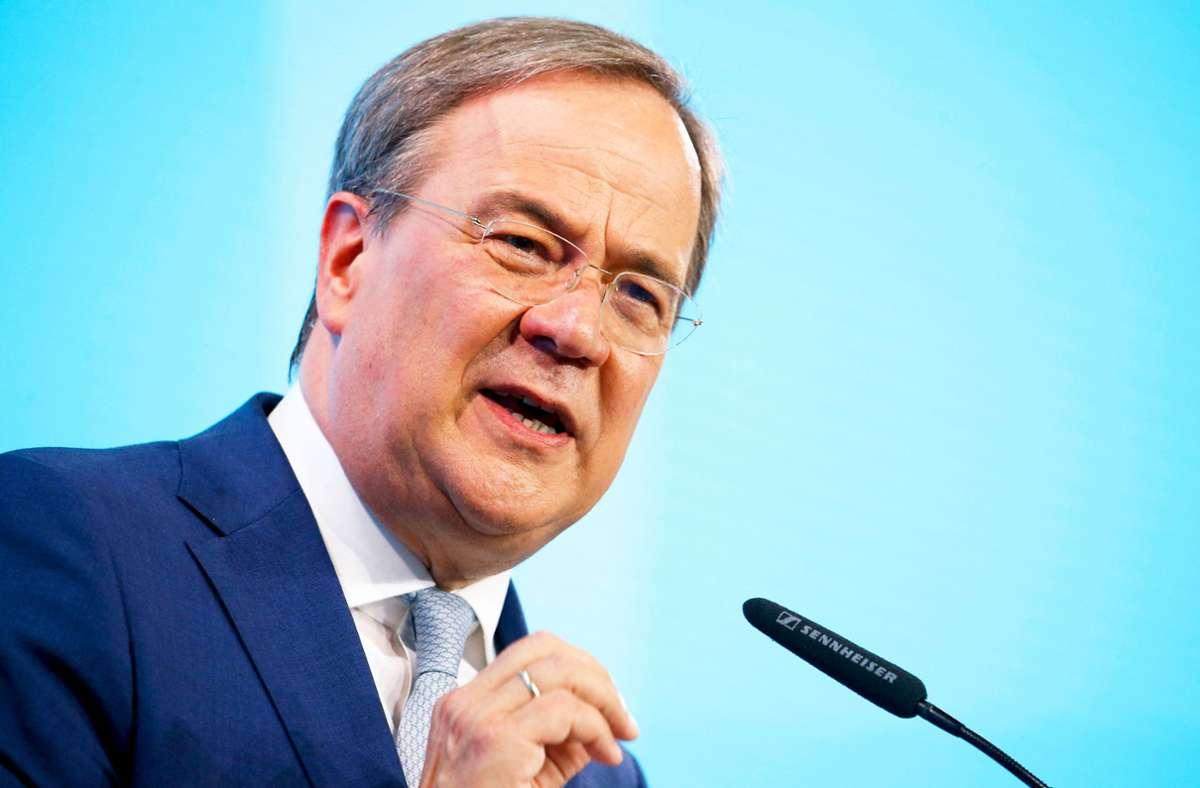 Der CDU-Vorsitzende und Ministerpräsident von Nordrhein-Westfalen, Armin Laschet, führt die Unionsparteien im Bundestagswahlkampf an. Foto: AFP/MICHELE TANTUSSI