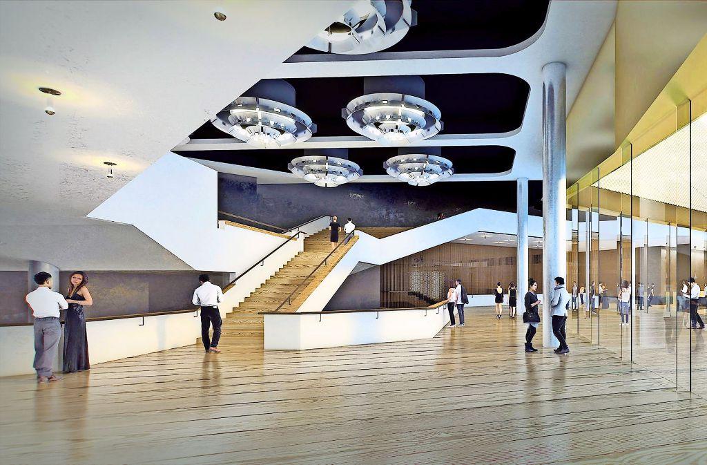 So sieht die glänzende Zukunft der Theaterwelt in Karlsruhe aus: das Foyer  in einer Visualisierung der Architekten. Foto: Delugan Meissl, Wenzel