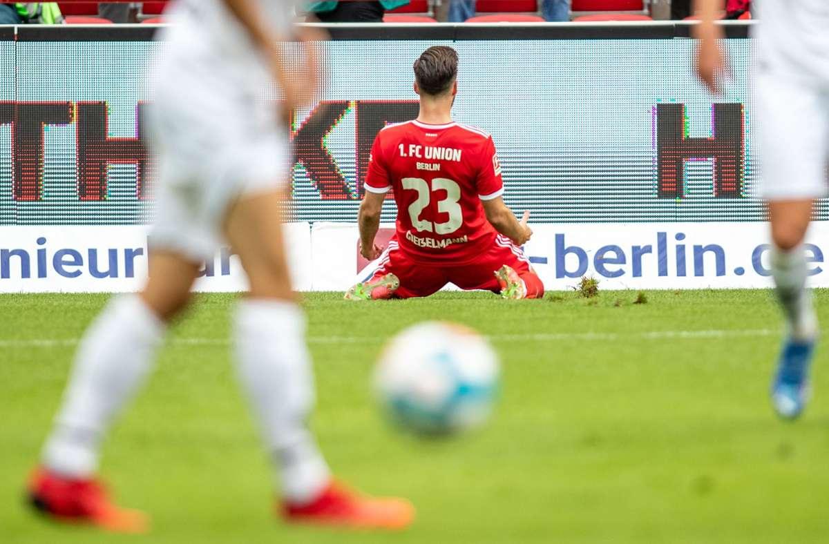 Union Berlin gewinnt gegen Borussia Mönchengladbach. Foto: dpa/Andreas Gora