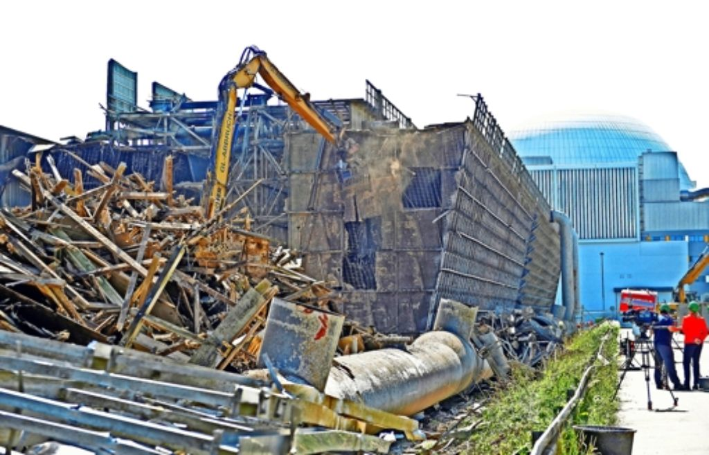 Abriss am Kernkraftwerk Neckarwestheim: Wo der Bauschutt deponiert werden soll, ist umstritten. Foto: dpa