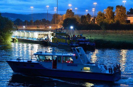 Atommüll-Transport auf dem Neckar ist unterwegs