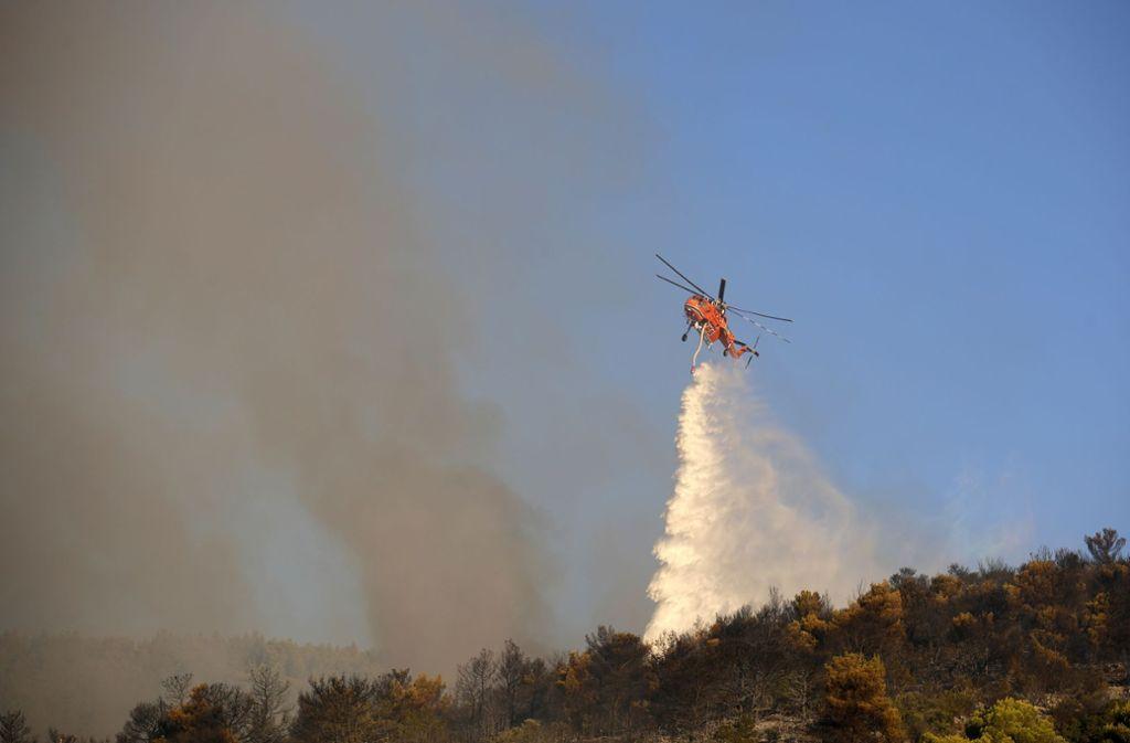 Die Feuerwehr hatte den Waldbrand nahe der Hauptstadt schnell unter Kontrolle. Foto: Thanassis Stavrakis/AP/dpa