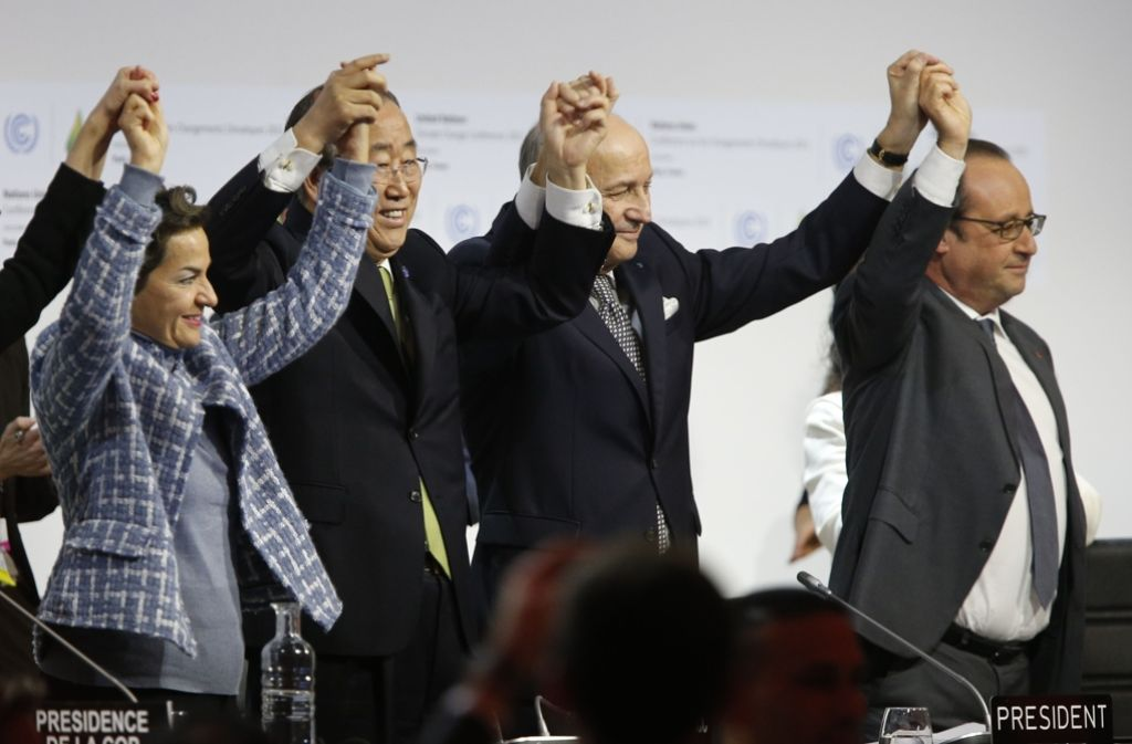 Am Ende des Pariser Klimagipfels war der Jubel groß. Foto: AFP