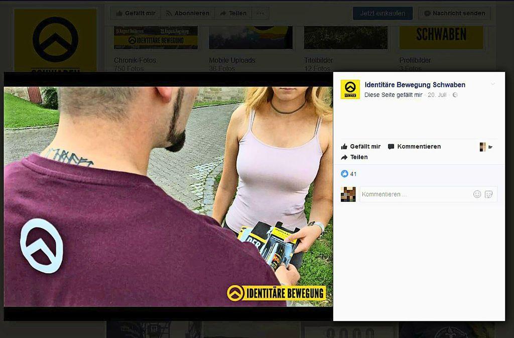 Auf Facebook ist zu sehen, wie Aktivisten Pfefferspray an Passanten verteilen. Foto: Screenshot (StZ)