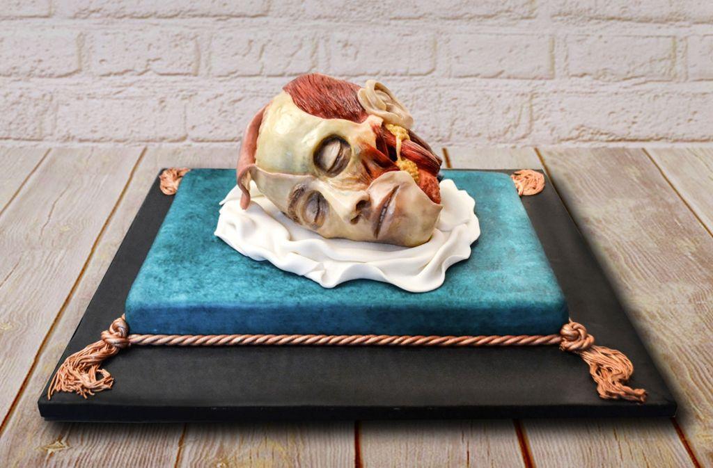 Ein Kopfpräparat als Torte: Hat die Konditorin ihn als Geburtstagskuchen für einen Anatomieprofessor gebacken? Foto: Annabel de Vetten