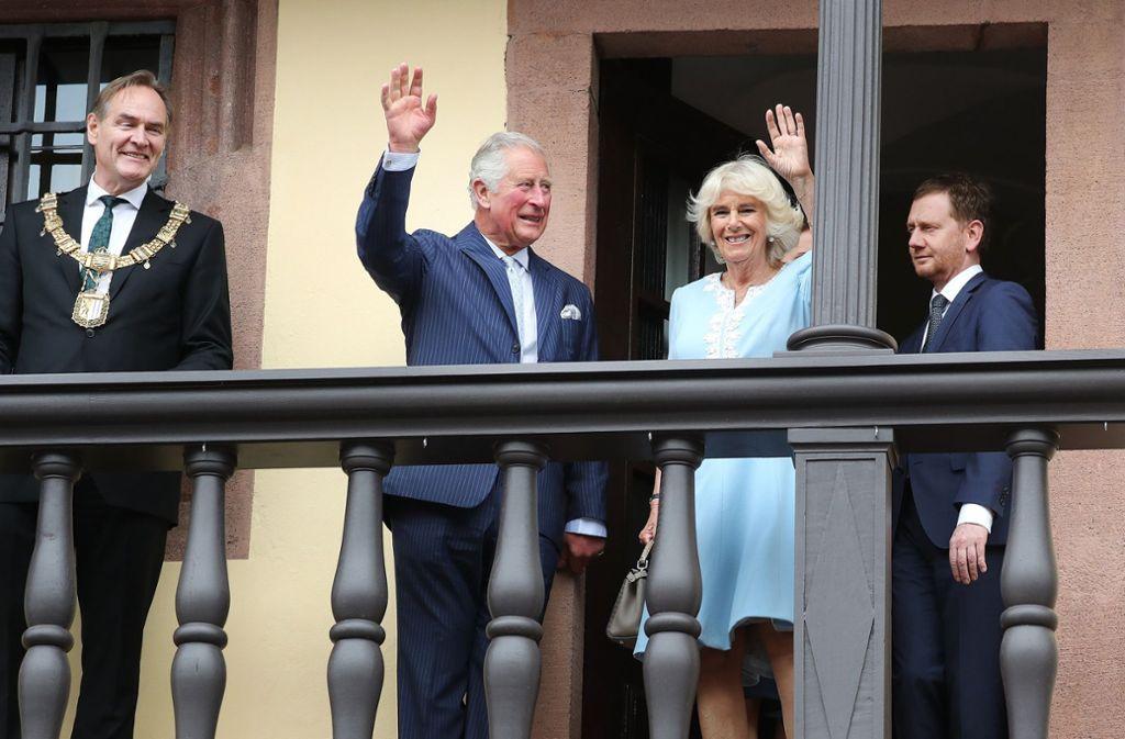 Prinz Charles und Camilla sind in Leipzig angekommen. Foto: dpa