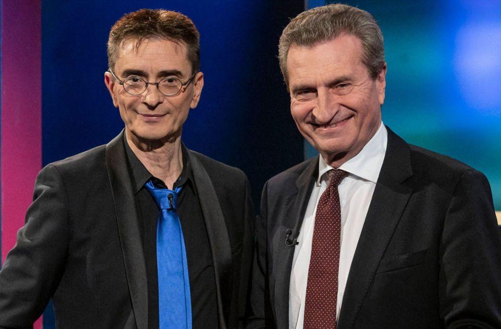 Günther Oettinger  (rechts) /übt in der Show von Mathias Richling scharfe Kritik an seiner Partei in Thüringen. Foto: SWR