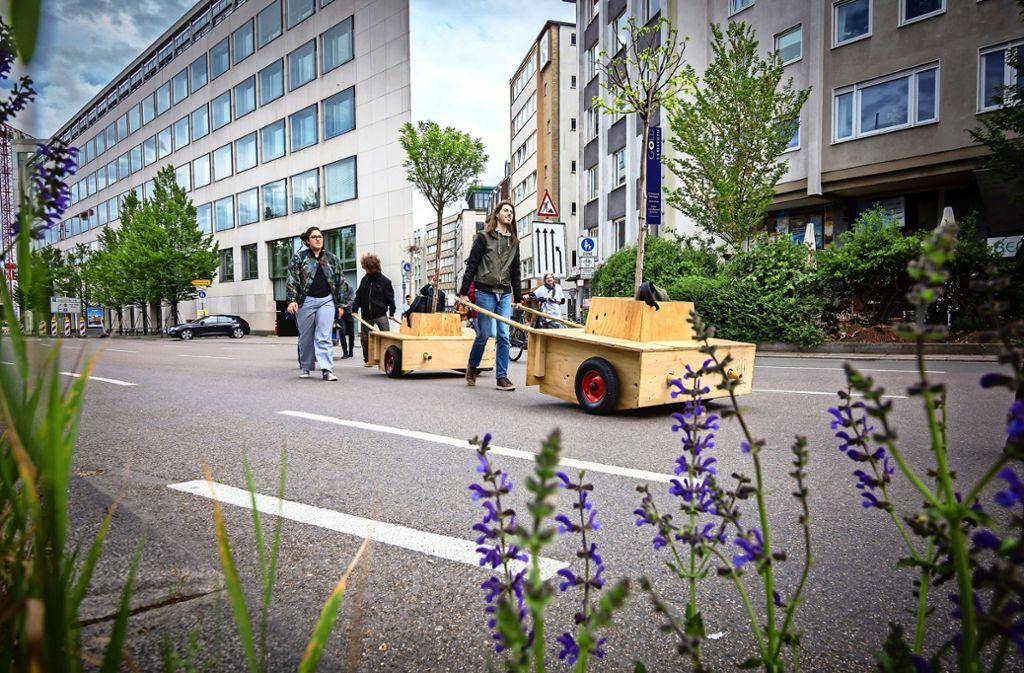 Ein Maulbeerbaum oder auch ein Zierapfel wandern derzeit in beweglichen Pflanzentrögen durch die Innenstadt. Manche stören sich daran. Foto: Julian Rettig
