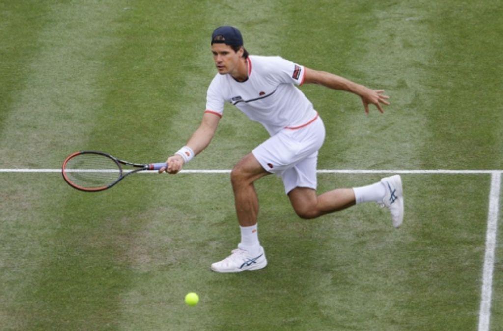 Auch Tommy Haas scheint der grüne Belag zu liegen. Auf den neuen Rasenplätzen des Tennisclub Weissenhof feiert der deutsche Tennisstar sein Comeback. Foto: Pressefoto Baumann