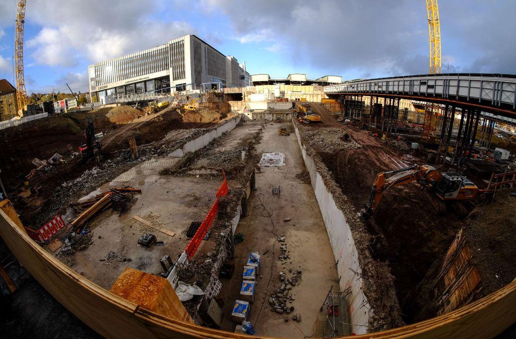 Die Baustelle für den Bahnhof in der Innenstadt. Foto: Lichtgut/Max Kovalenko