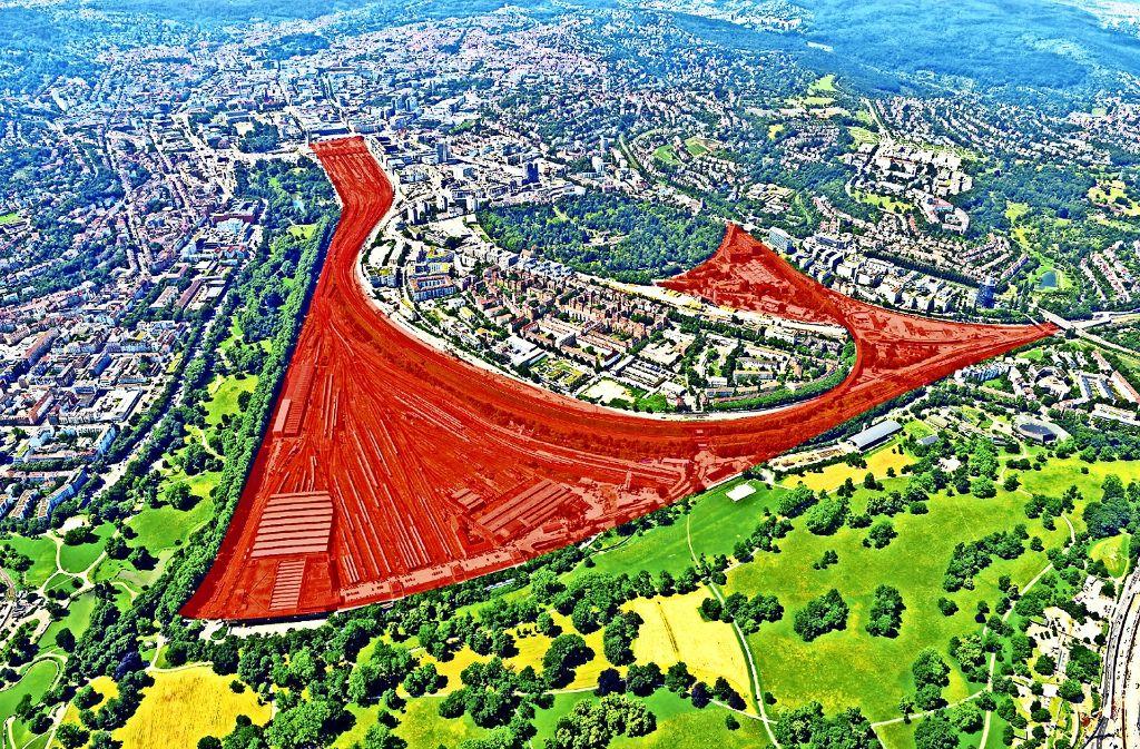 Das Rosenstein-Areal aus der Vogelperspektive Foto: DB Bahnprojekt Stuttgart Ulm/Kilgus