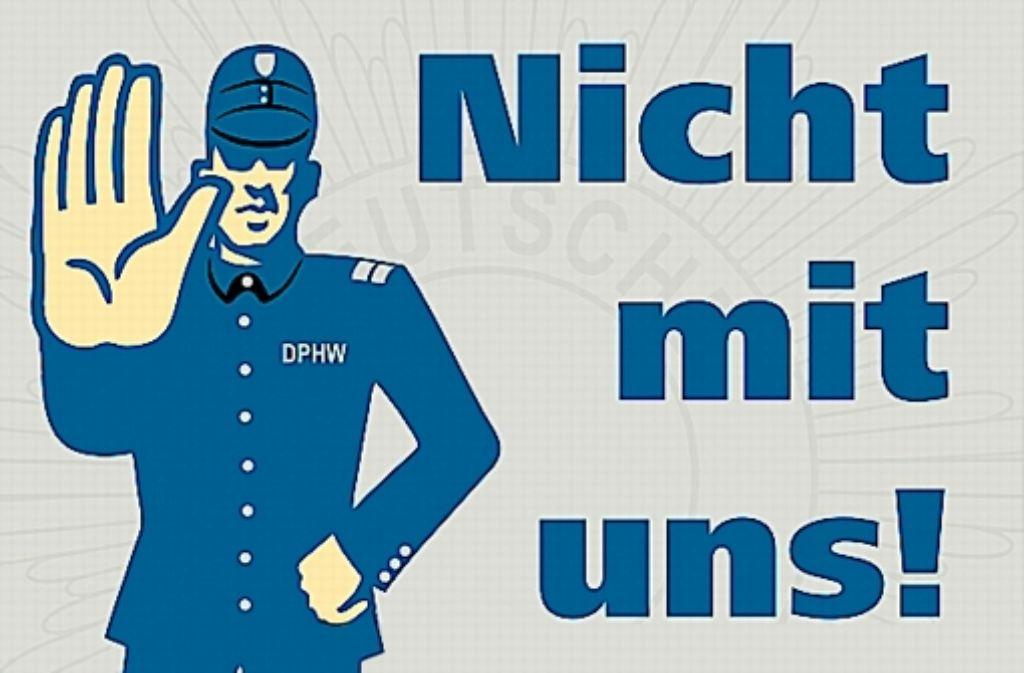 Populistische Plakate: die Pseudopolizisten werben um neue Mitglieder Foto: StZ