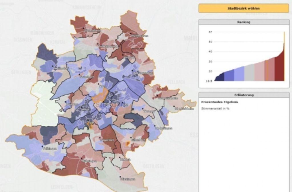 Das Statistische Amt der Stadt Stuttgart hat eine Karte ins Netz gestellt, die die Ergebnisse aller Gemeinderatskandidaten in allen Wahlbezirken abbildet. Foto: Stadt Stuttgart (Screenshot)