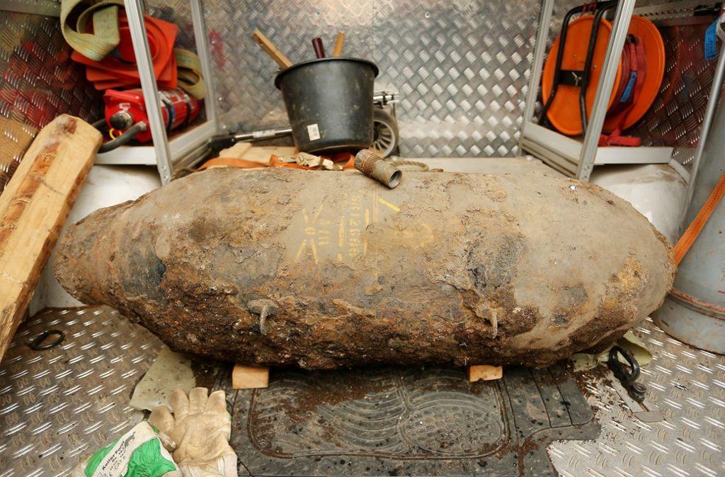 Diese britische Fünf-Zentner-Bombe hatte der Kampfmittelräumdienst in Düsseldorf im Jahr 2017 entschärft. Foto: dpa